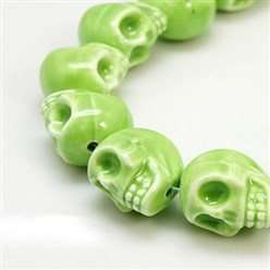 LightGreen Handmade Porcelain Beads Strands, Bright Glazed Style, Skull, Halloween, LightGreen, about 15mm wide, 18mm long, 18mm thick, Hole: 1.5mm