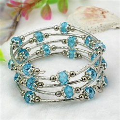 DeepSkyBlue Fashion Wrap Bracelets, with Rondelle Glass Beads, Tibetan Style Bead Caps, Brass Tube Beads and Steel Memory Wire, DeepSkyBlue, Inner Diameter: 55mm