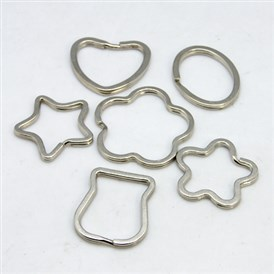 Iron Keychain Clasp Findings, Mixed Shapes, 30~35x20~30mm
