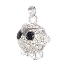 Silver Environmental Brass Cage Pendants, For Chime Ball Pendant Necklaces Making, with Jet Grade A Rhinestone, Cadmium Free & Nickel Free & Lead Free, Hollow Owl, Silver Color Plated, 22x19x16mm, Hole: 3x4mm; Inner Diameter: 13mm
