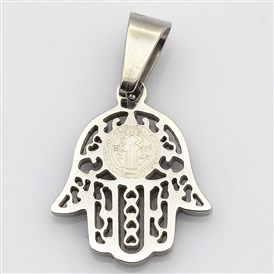 Hamsa Hand/Hand of Fatima/Hand of Miriam with San Benito 304 Stainless Steel Charms, 17x14x1.5mm, Hole: 4x7mm
