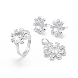 925 Sterling Silver Finger Ring & Stud Earrings & Pendants Jewelry Set Findings, with Cubic Zircon, For Half Drilled Beads, Flower