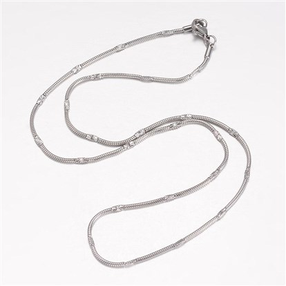 304 Stainless Steel Necklace Makings, Herringbone Chain Necklaces, with Lobster Claw Clasps-1