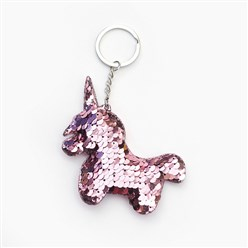 Plum Key Chains, with Plastic Paillette Beads, Iron Key Ring and Chain, Unicorn, Platinum, Plum, 135mm; Pendant: 95x79x11mm