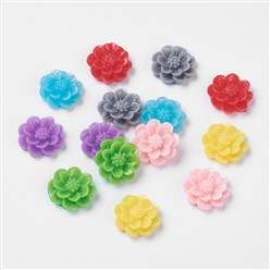 Mixed Color Resin Cabochon, Flower, Mixed Color, 15x6mm