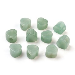 Green Aventurine Natural Green Aventurine European Beads, Large Hole Beads, Heart, 13~14x13~14x9~10mm, Hole: 5mm
