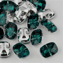 Teal Taiwan Acrylic Rhinestone Buttons, Faceted, 1-Hole, Rectangle, Teal, 30x21x10.5mm, Hole: 2mm