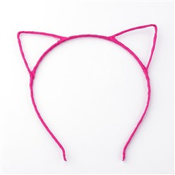 Camellia Hair Accessories Iron Hair Band Findings, with Polyester Ribbon, Cat, Camellia, 113~124mm