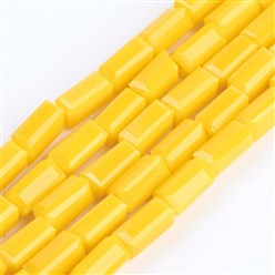 "Gold Opaque Glass Beads Strands, Faceted, Cuboid, Gold, 6.5~7x3~3.5x3~3.5mm, Hole: 0.5mm; about 80pcs/strand, 20.6~22""(52.5~56cm)"