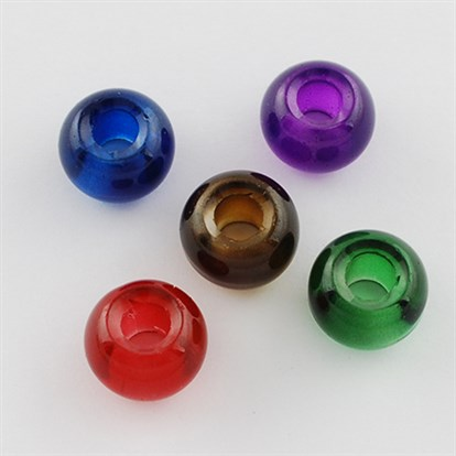 Spray Painted Glass Beads, Large Hole Beads, Rondelle-1
