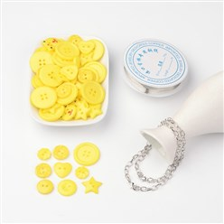 Yellow Free Tutorial DIY Jewelry Sets For Bracelet Making, Mixed Acrylic Buttons, Copper Wire and Iron Bracelets, Yellow, 205mm