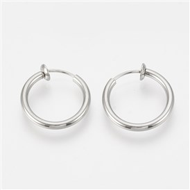 304 Stainless Steel Retractable Clip-on Hoop Earrings, For Non-pierced Ears, with Spring Findings