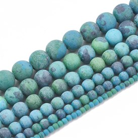 Synthetic Chrysocolla Beads Strands, Frosted, Round