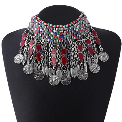 Alloy Choker Necklaces, Bib Statement Necklaces, with Enamel and Seed Beads, Antique Silver-1