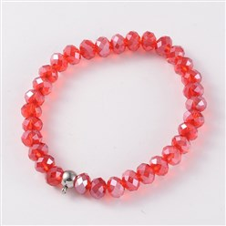 Red Korean Elastic Thread Glass Beaded Stretch Bracelet Makings, with 304 Stainless Steel Findings, Red, 55mm