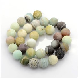 Nature Frosted Amazonite Beads Strands, Round