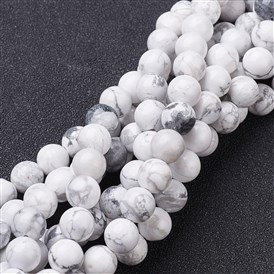Natural Howlite Beads Strands, Round, 4~8mm, Hole: 0.8~1mm