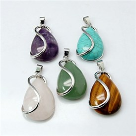 Gemstone Pendants, with Brass Findings, Drop, Nickel Metal Color, 42x21x10mm, Hole: 4x5mm
