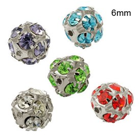 Brass Rhinestone Beads, with Iron Single Core, Grade A, Platinum Metal Color, Round, 6mm in diameter, Hole: 1mm
