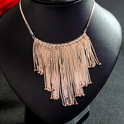 "18K Real Gold & Platinum Plated Alloy Tassel Bib Statement Necklaces, Fringe Chain Necklaces, 33.8""-1"