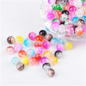 Two Tone Transparent Crackle Acrylic Beads, Half Spray Painted, Round