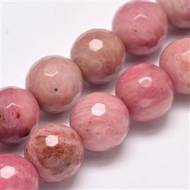 Faceted Natural Rhodochrosite Round Bead Strands