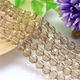 Faceted Round Imitation Austrian Crystal Bead Strands, Grade AAA