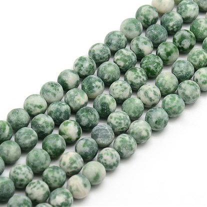 Frosted Natural Green Spot Stone Round Bead Strands