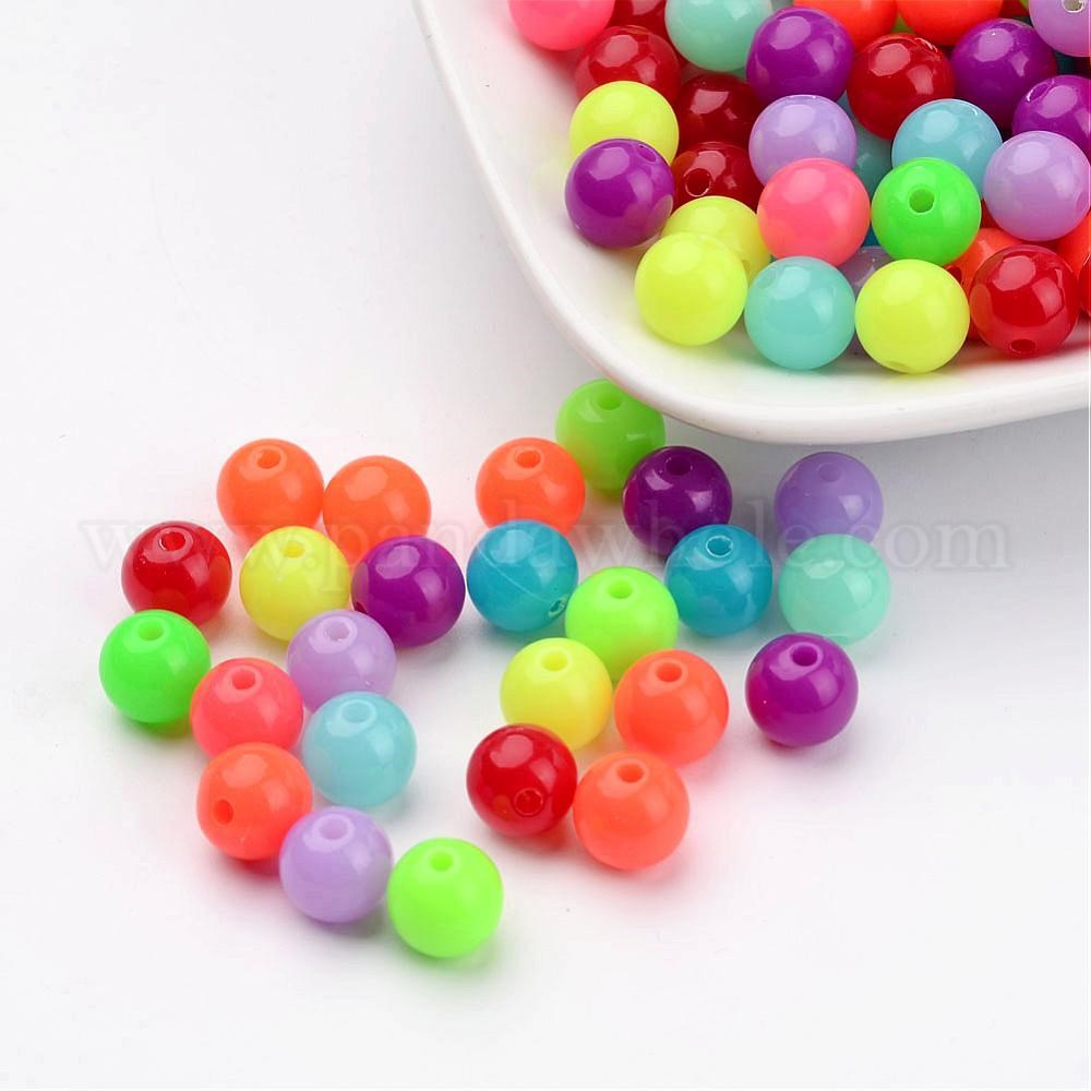 Wholesale 8mm 10mm Fluorescent Acrylic Round Charm Spacer Beads