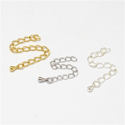 Brass End with Extender Chains and Drop Charms, 69x3x1.5mm, Hole: 3x2mm-1