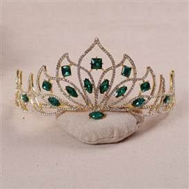 Adjustable Fashionable Wedding Crown, Alloy Hair Bands, Bridal Tiaras, with Rhinestone and Glass, Green, Golden