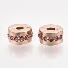 Alloy European Clasps, Large Hole Beads, with Rhinestone, Flat Round