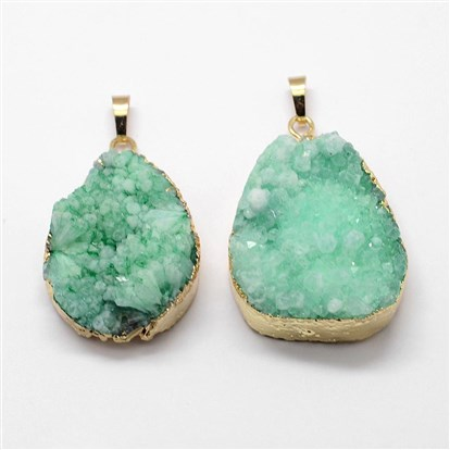 Electroplated Natural & Dyed Druzy Agate Pendants, with Golden Plated Brass Findings, Drop-1