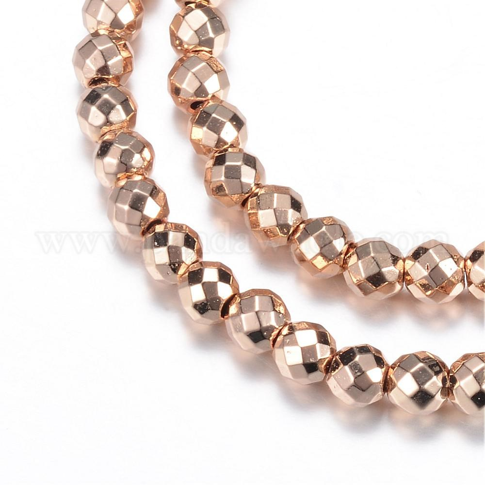 matte frosted non faceted beads Hematite round antique gold color