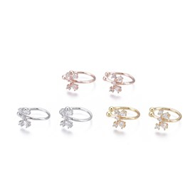 Brass Micro Pave Clear Cubic Zirconia Cuff Earrings, Butterfly