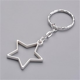 Alloy Pendants Keychain, with Iron Key Clasp Findings, Star
