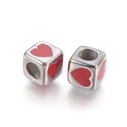 304 Stainless Steel Enamel European Beads, Large Hole Beads, Cube with Heart-1