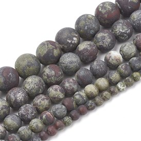 Natural Dragon Blood Stone Beads Strands, Frosted, Round