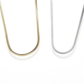 304 Stainless Steel Snake Chain Necklaces, with Lobster Claw Clasps