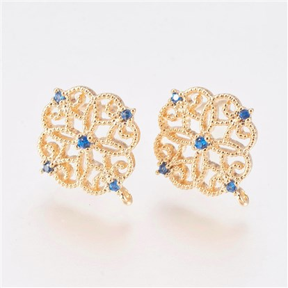 Brass Ear Stud Components, with Cubic Zirconia, Nickel Free, Flower-1