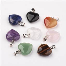 Natural Gemstone Pendants, Heart, with Brass Findings, Platinum