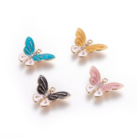 Zinc Alloy Pendants, with Enamel and Rhinestone, Butterfly