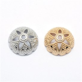 Alloy Bead Caps, Long-Lasting Plated, Half Round with Flower