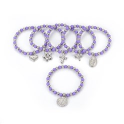 "Lilac 304 Stainless Steel Charm Bracelets, with Plastic Beads, Mixed Shaped, Lilac, 2-1/4""(5.6cm)"