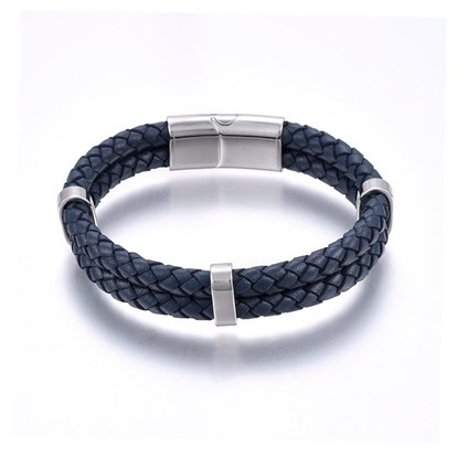Leather Cord Bracelets, with 304 Stainless Steel Magnetic Clasp, Rectangle-1