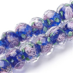 Blue Handmade Gold Sand Lampwork Beads Strands, Inner Flower, Faceted Rondelle, Blue, 11~12x8~9mm, Hole: 2mm; about 45pcs/strand, 17.3""