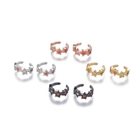 Brass Cubic Zirconia Cuff Earrings, Star