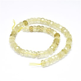 Natural Lemon Quartz Beads Strands, Faceted, Rondelle