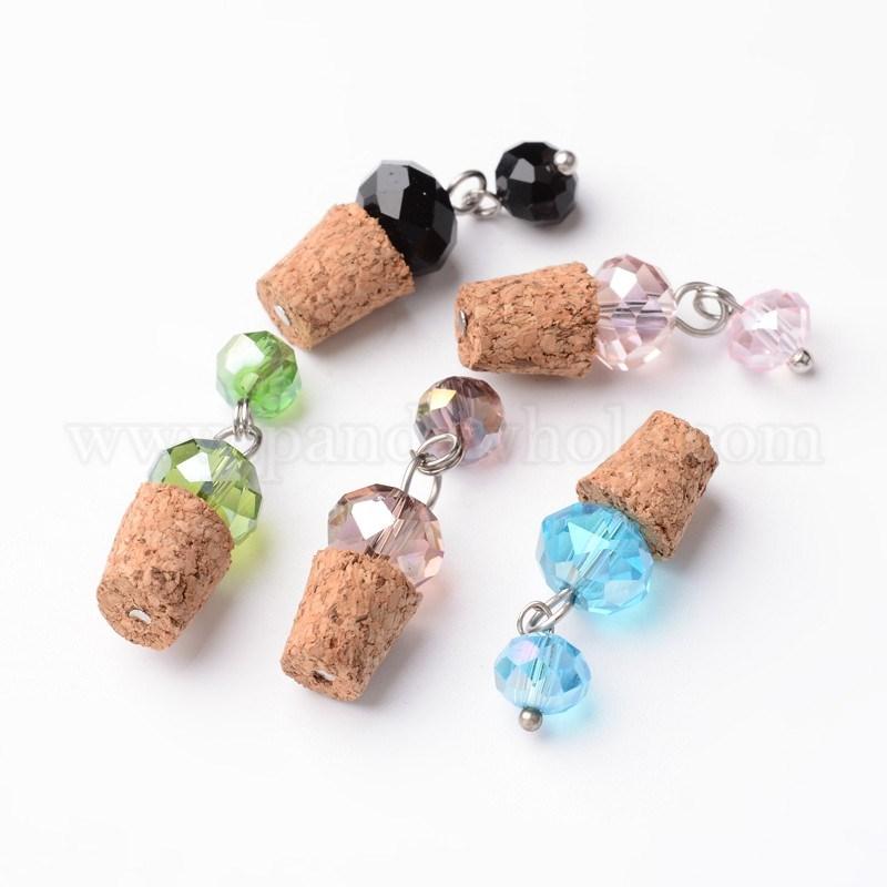 Wholesale wood stopper for perfume bottle pendants with glass beads wood stopper for perfume bottle pendants with glass beads brass decoration platinum aloadofball Gallery