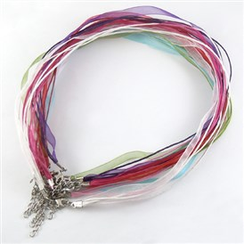 Jewelry Making Necklace Cord, Organza Ribbon & Waxed Cotton Cord & Platinum Plated Iron Clasp